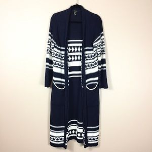 Forever 21 Long duster cardigan knit striped navy